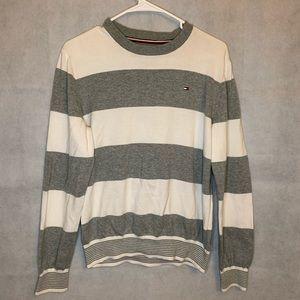 Tommy Hilfiger grey and white stripe sweatshirt